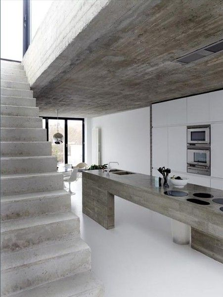 Concrete is definitely on trend with it being used all over the home.