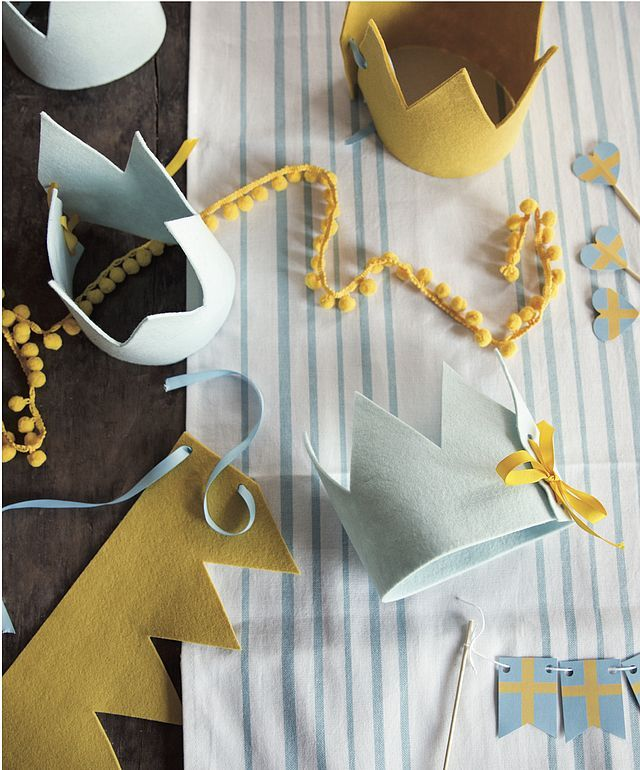 Kids Adjustable Handmade Felt Dress Up Crown in Gold and Yellow