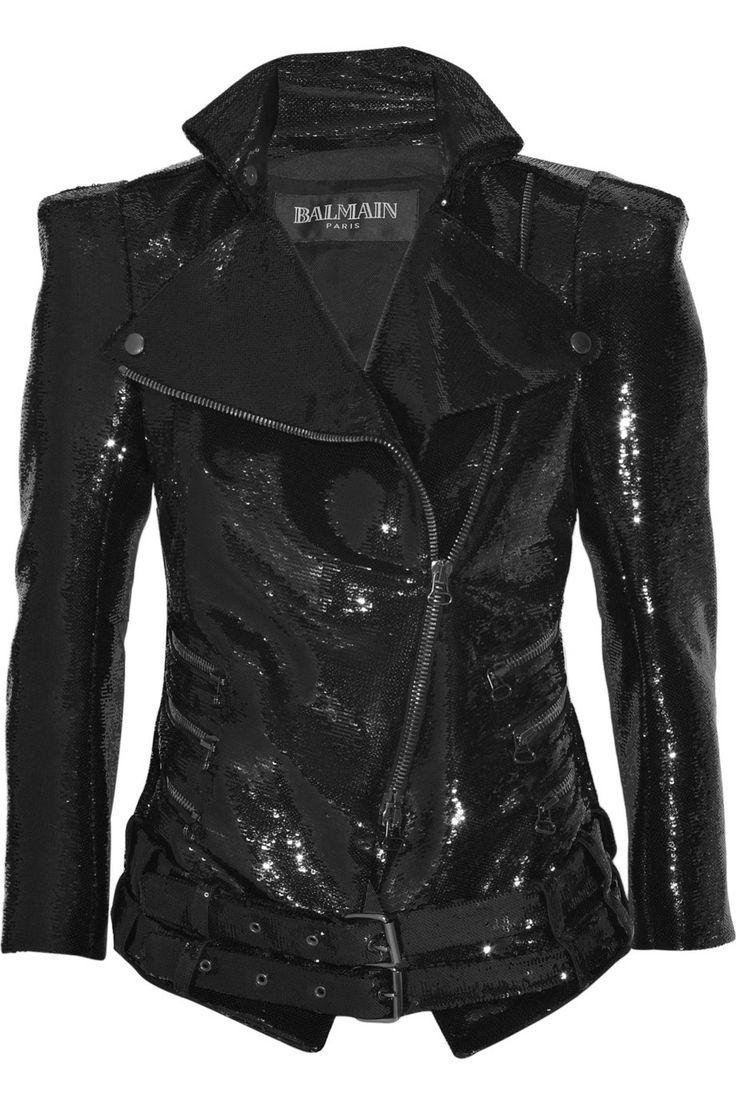 Balmain Sequin biker jacket