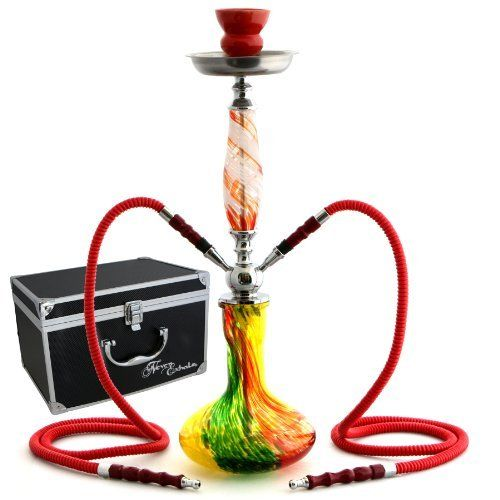 "GSTAR 22"" 2 Hose Hookah Complete Set with Optional Carrying Case - Swirl Art Glass Vase"