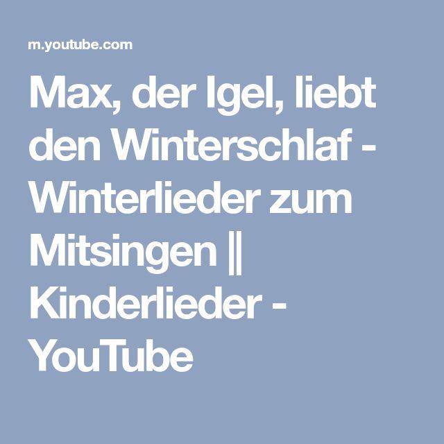 Max, der Igel, liebt den Winterschlaf - Winterlieder zum Mitsingen    Kinderlieder - YouTube