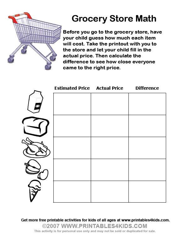 Grocery Store Math School Math Math Worksheets Math