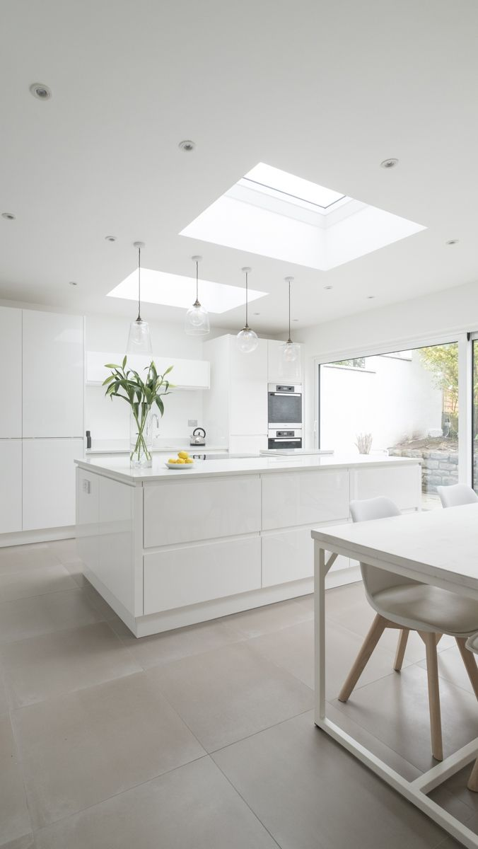 Sleek white gloss kitchen from www.chalkhouseinteriors.co.uk