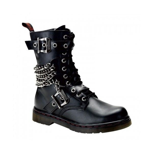Chain Accented Mens Combat Boot - Defiant 204 Demonia Unisex Boots ($100) ❤ liked on Polyvore featuring men's fashion, men's shoes, men's boots, mens leather combat boots, mens military boots, mens black chain, mens black combat boots and mens black leather shoes