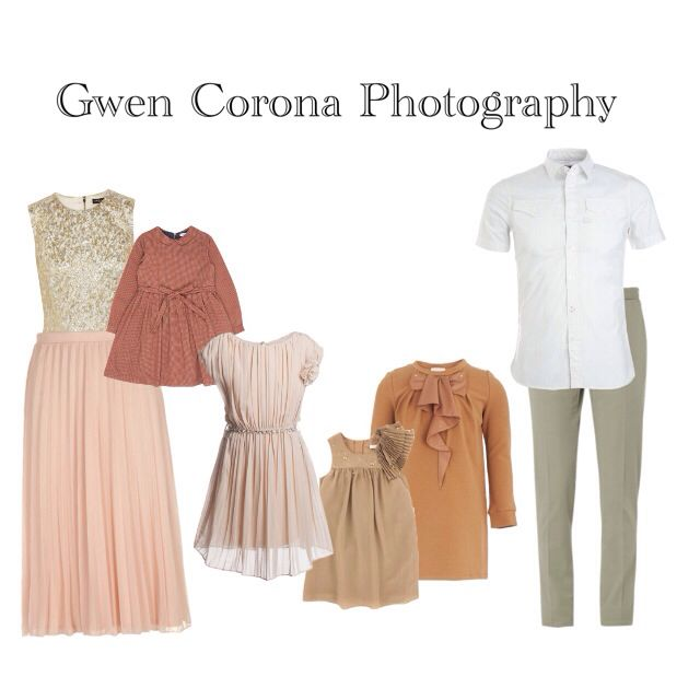 What to wear for family pictures. Family Wardrobe. Tan, brown, basics, neutrals, gold, beige color pallette