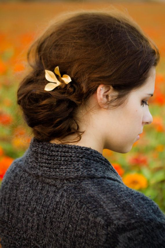 Gold Rose Leaf Hair Pins Rose Leaf Bobby Pins por luxebuffalo