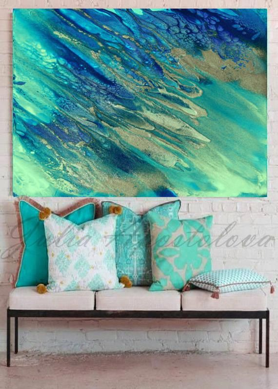 48inch Ocean Beach Art Watercolor Print Extra Large Wall Art