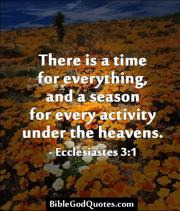 There is a time for everything, and a season for every ...
