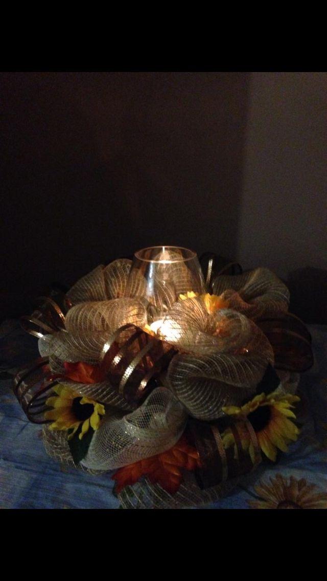 Autumn candlelit centrepiece