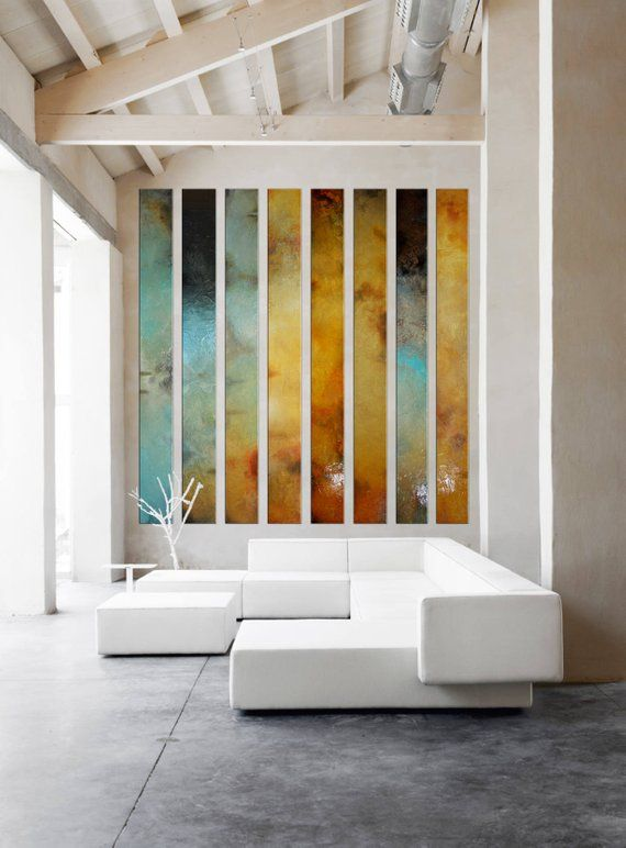Large Painting Multiple Panels Foyer Art Curved Large Wall Etsy
