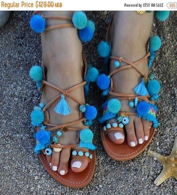 BLACK FRIDAY TURQUOISE boho greek leather sandals tie up by ENOTIA
