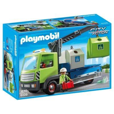 1100 Playmobil 6109 : City Action : Camion avec grue et conteneurs à verre - Playmobil-6109