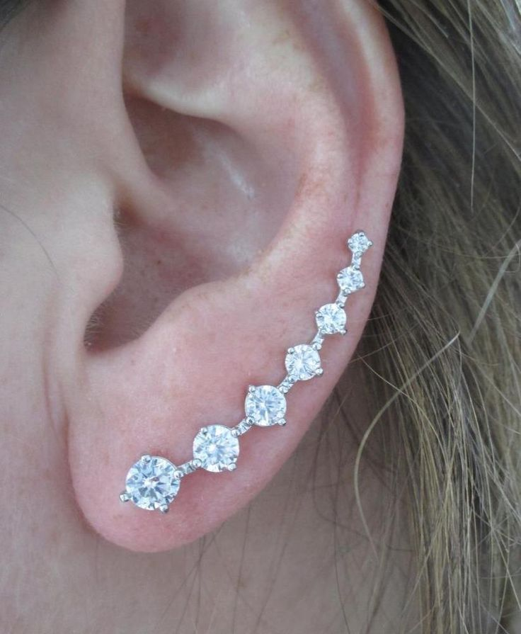White Gold Plated 7 Graduated CZ Curved Cuff Ear Climber Crawler Vine Earrings #Climber