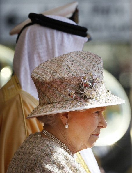 Posted on April 30, 2013 by HatQueen....President Sheikh Abdullah bin Zayed Al Nahyan of the United Arab Emirates arrived in England today for a two-day state visit. For his official welcome, Queen Elizabeth wore a new hat in a textured beige floral plaid, made in the same fabric as her coat. The sequin flower trim was very sweet and unlike anything we've seen her wear in recent memory. I thought she looked lovely.