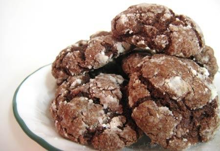 Chocolade-walnoot koekjes. Recept op de site via de foto.