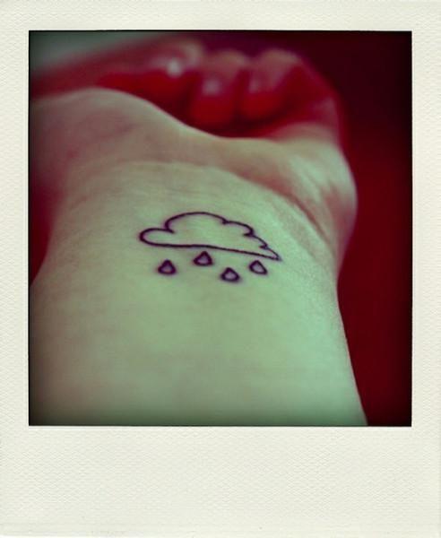 Cute wrist rain cloud tattoo