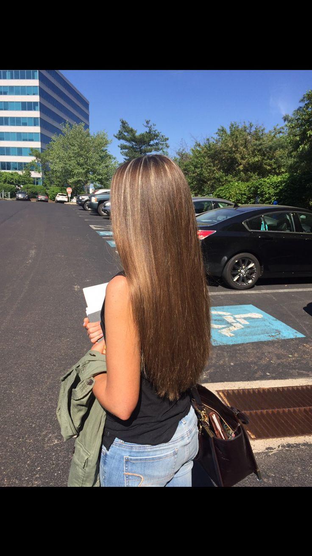 Caramel hair light brown highlights honey brown straight long hair