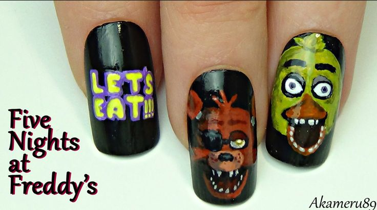 Five Nights At Freddy's Nails! Oh Meh gersh I want these nails!
