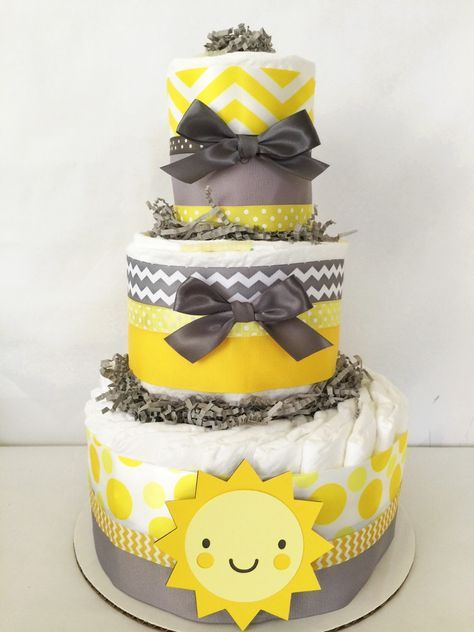 You are My Sunshine 3 Tier Diaper Cake in Yellow and Gray, You are My Sunshine Baby Shower Centerpiece by AllDiaperCakes on Etsy https://www.etsy.com/listing/234143242/you-are-my-sunshine-3-tier-diaper-cake