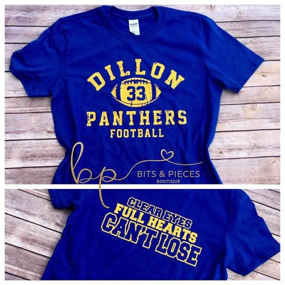 This listing is for one royal blue tshirt with the Dillon Panthers Football front and back design from the popular TV show, Friday Night Lights.
