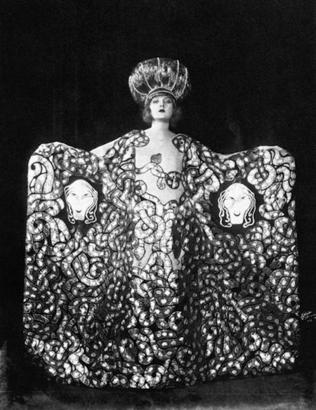 Imogene Wilson, Cobra costume, Ziegfeld Follies, 1920. Ziegfeld girl. I would love to see this in more detail and other angles -love the how dramatic this performance must have been