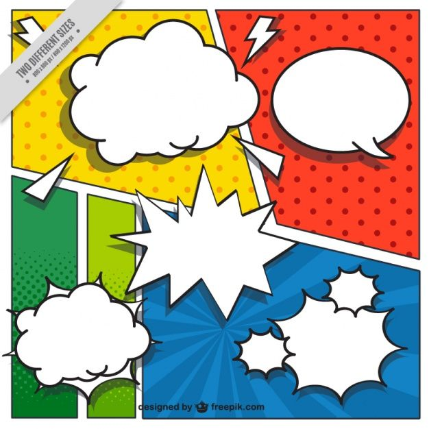 Comic vignettes background in pop art style with speech bubbles Free Vector