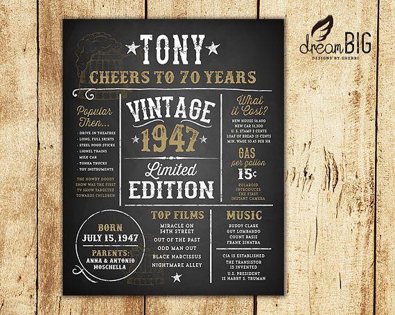 70 º cumpleaños pizarra cartel edición Vintage año hechos / /