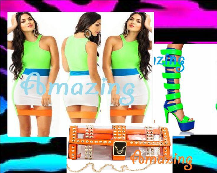 vestito multicolore stivali estivi strap verdi e blu e pochette trasparente arancione con borchie https://www.facebook.com/pages/Amazing-SHOP-abbigliamento-scarpe-accessori/378956502238895