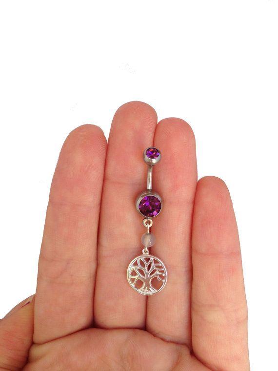 Nombril argent 925 piercing avec pendentif arbre de vie, cadeaux, bijoux de corps boho, arbre de vie anneau de nombril, piercing de sterling