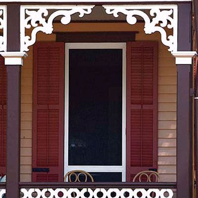 "create a victorian-style porch. Highlight your front porch with Victorian-style ""gingerbread"" made from rot-proof polyurethane. Pair of 10-inch fretwork brackets, about $40; vintagewoodworks.com"