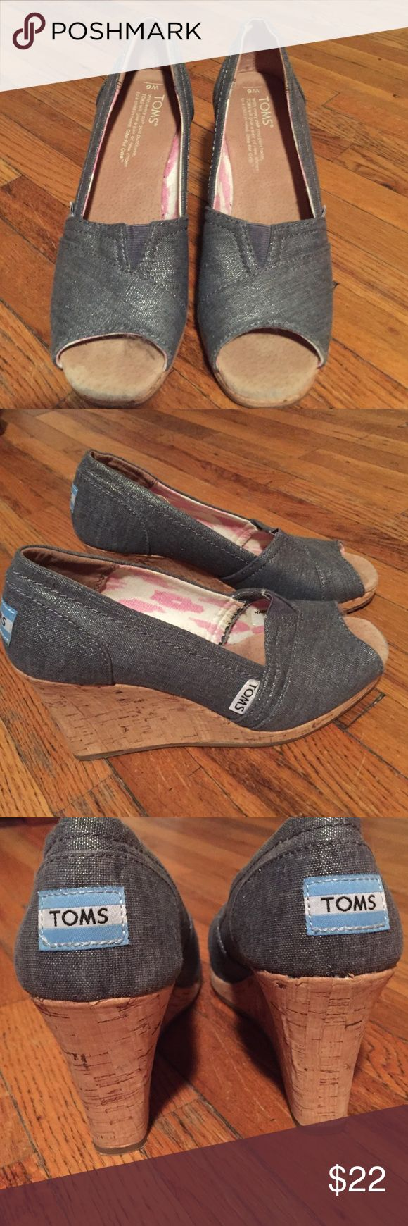 Tom's wedge shoe - like new- size 6 Toms wedge, size 6. Great pre loved condition. Metallic denim look fabric. Small elastic in the front. Most comfortable wedges ever. TOMS Shoes Wedges