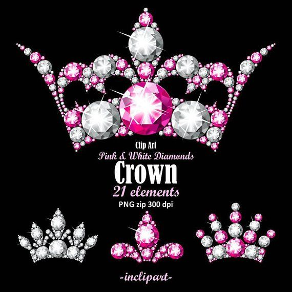 Diamond Crown Clipart Png Format Pink And White Diamond Rhinestone Crown Clip Art Ladies Party Clipart Instant Download Business Use Crown Clip Art Clip Art Diamond Crown