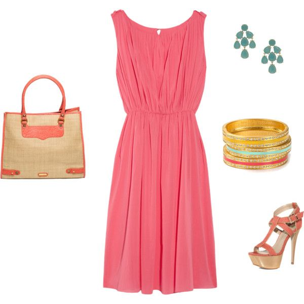 Coral Dress Outfit Love this I would add a lace jacket. - Best 25+ Coral Dress Outfits Ideas On Pinterest Coral Dress
