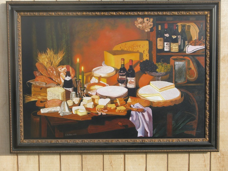 """Finally framed it. It's called """"Cheese Lovers Delight"""" or should that be """"Wine Lovers Delight""""? Took me 7 months to paint!"""