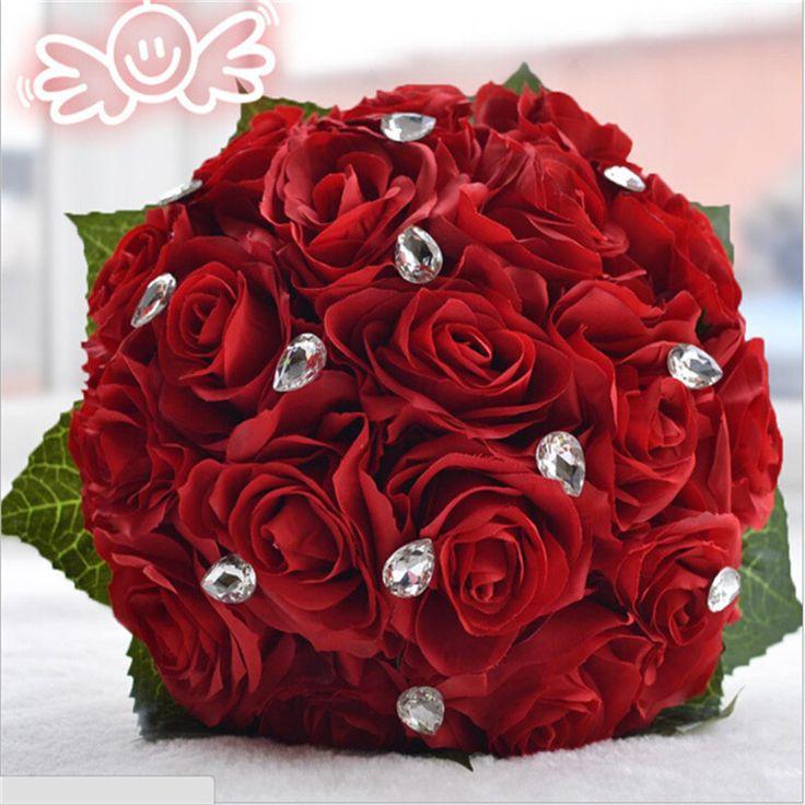 3 cores da flor de Rosa branco Vermelho Rosa Cor do vestido de Noiva Da Dama de honra buquê de casamento flor rosa artificial bouquets de noiva de cristal(China (Mainland))
