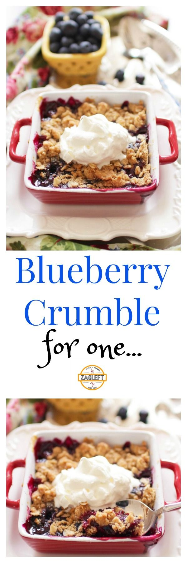 Blueberry Crumble For One – juicy blueberries piled high in a small baking dish and topped with a delicious oat topping. A wonderful single serving dessert.