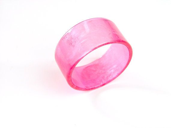Candy pink 1980s super wide plastic cuff bangle. by SellTheOld