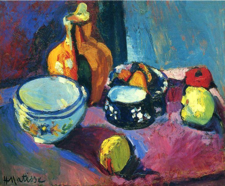 Natura morta con i piatti e la frutta su un tappeto rosso, nero e blu di Henri Matisse, 1901.
