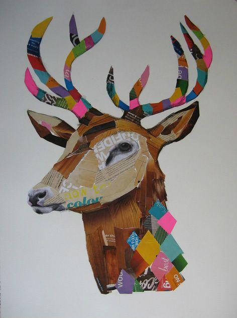collage, deer, antlers