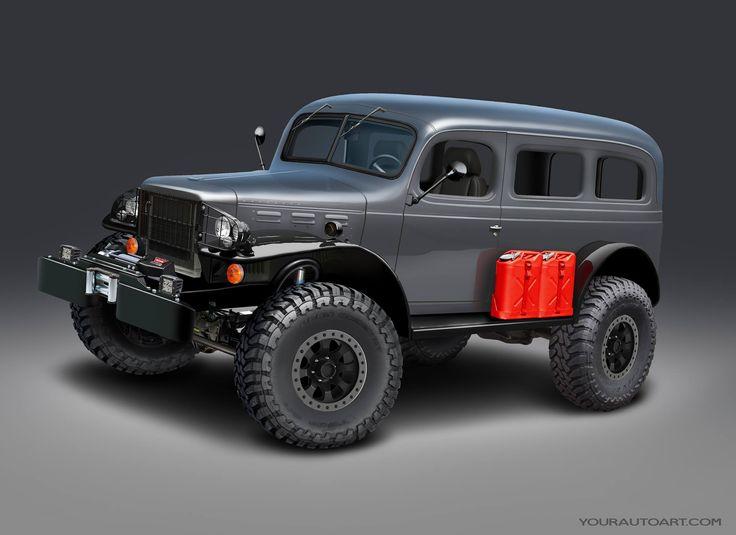 "1943 Dodge Carryall, 392 Hemi, 5-speed auto, atlas, dynatrac ProRock 60 on 37"" Toyo R/T tires. Focal sound system, ambulance door conversion, Recaro Seats, Horween Leather, and Zebra wood interior."