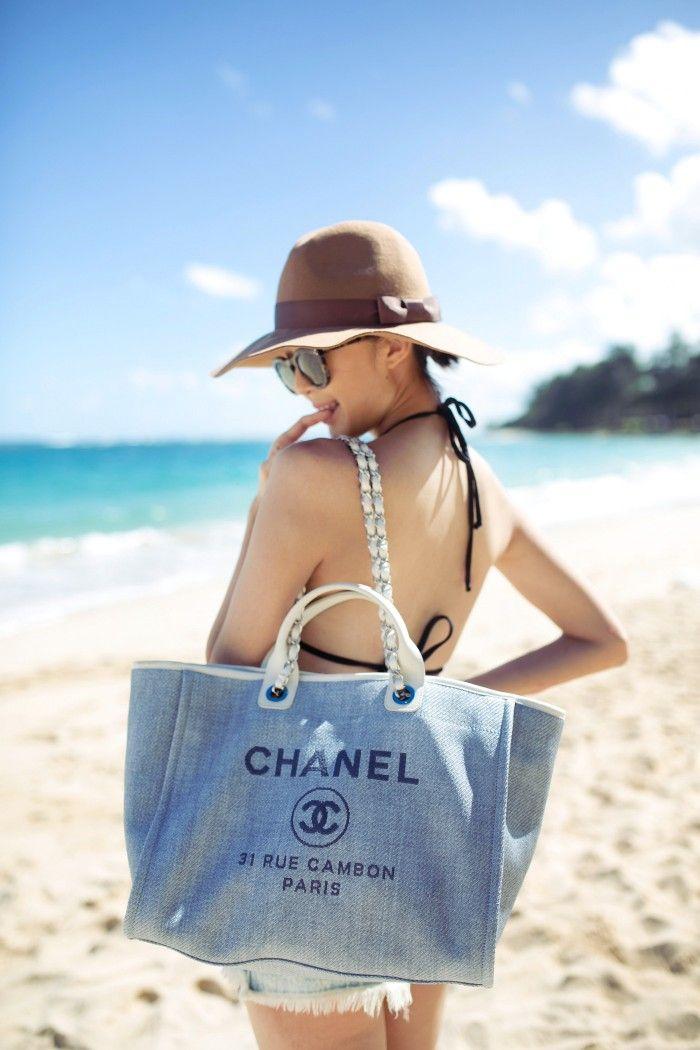Chriselle_lim_chanel_rue_cambon_denim_tote_One_teaspoon_cutoff_shorts_Hawaii