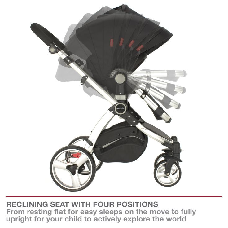 Redsbaby Bounce - The Ultimate All-In-One Stroller/ Pram www.redsbaby.com.au Reclining seat with four positions from resting flat for easy sleeps on the move, to fully upright for your child to actively explore the world around them (reclines in forward and rear-facing positions)