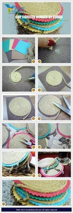 {DIY Twine Coasters} Twine + Scissors + Felt + Glue...easy peasy:)