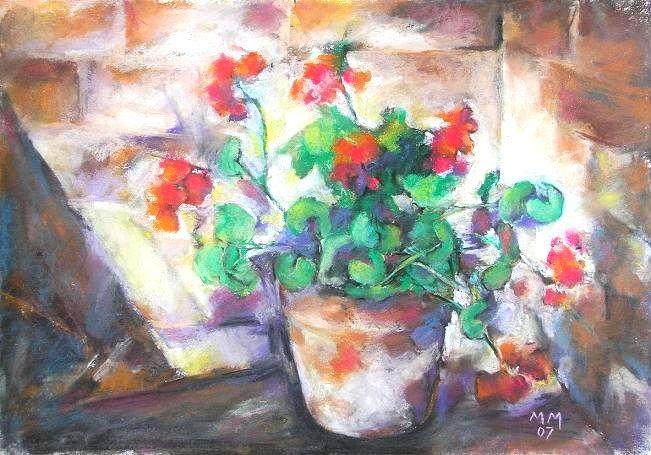 Glastră cu mușcate- pictură realizată de Mioara Mitu