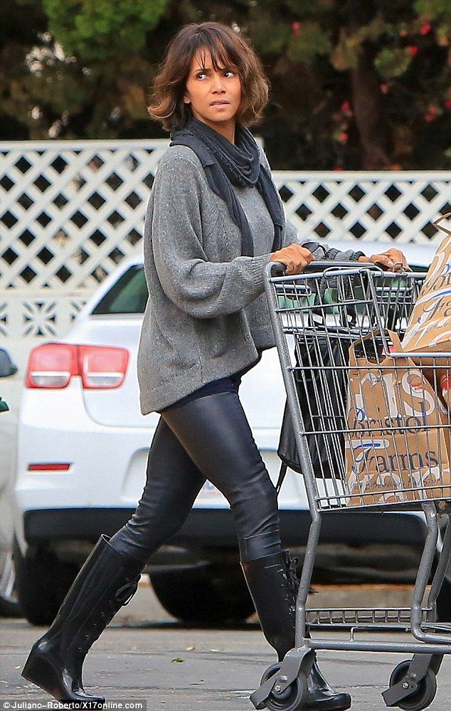 Leggy look: Halle Berry was seen with a trolley load of shopping from Bristol Farms superm...