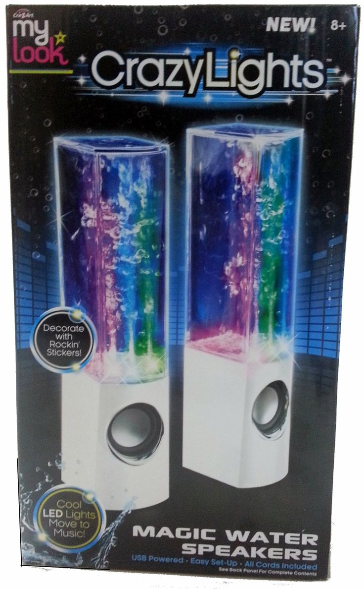 My Look Crazy Lights Magic Water Speakers (White). Cool LED Lights Move to Music!. NEW! Bluetooth Wireless Technology. 4 Multi-Colored LEDs Create an Amazing Sound & Light Show!. Portable and Lightweight. White base decor.