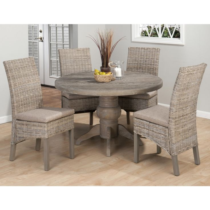 Burnt Grey Coastal 5 Piece Pedestal Dining Table Rattan Chairs Set