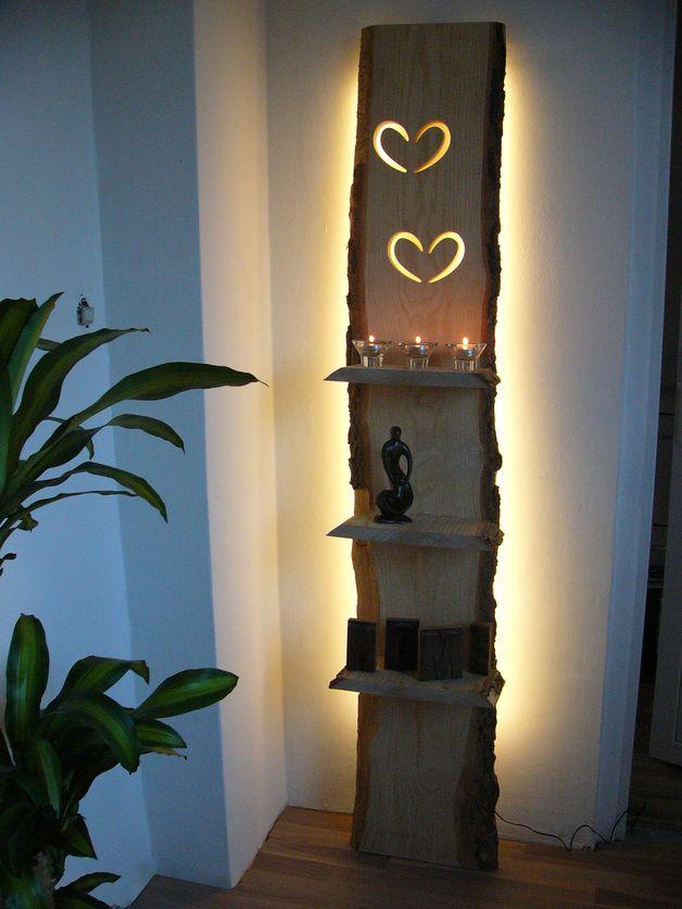 Wandleuchten - XXL Wandleuchte Regal Holz inkl. Led Beleuchtung - ein Designerstück von PeKa-Ideen bei DaWanda