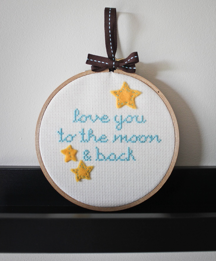 Baby nursery decor -Cross stitch on embroidery hoop  Available in my etsy shop $32.00