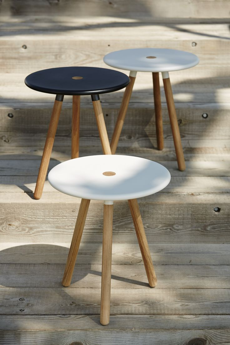 Area table and stool, lavagrey and white. Design by Welling/Ludvig.